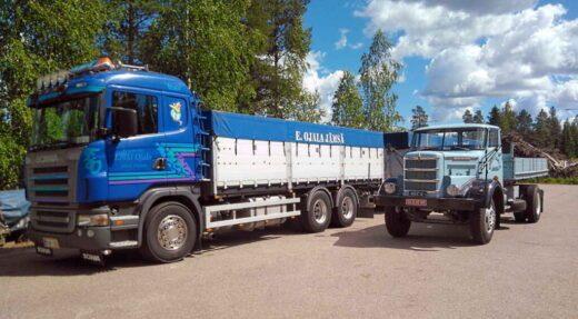 Erkki Ojala Oy:n kuljetuskalusto on muuttunut ja kasvanut Sisu Kontion ajoilta